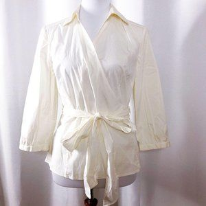 Ann Taylor Womens 8 Cream Cotton/Spandex Wrap Top